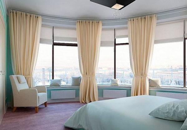 Оригинальные шторы на панорамные окна